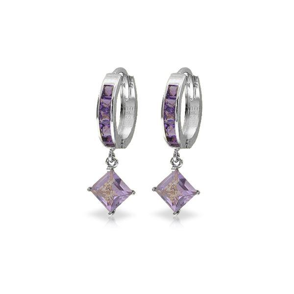 Genuine 3.8 ctw Amethyst Earrings 14KT White Gold - REF-52P9H