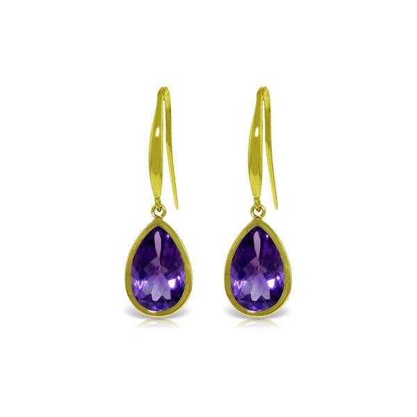 Genuine 5 ctw Amethyst Earrings 14KT Yellow Gold - REF-35W2Y