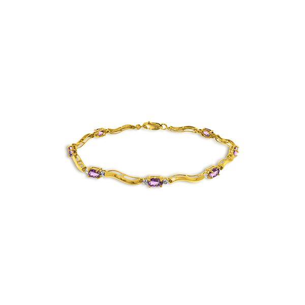 Genuine 2.16 ctw Amethyst & Diamond Bracelet 14KT Yellow Gold - REF-76Y7F