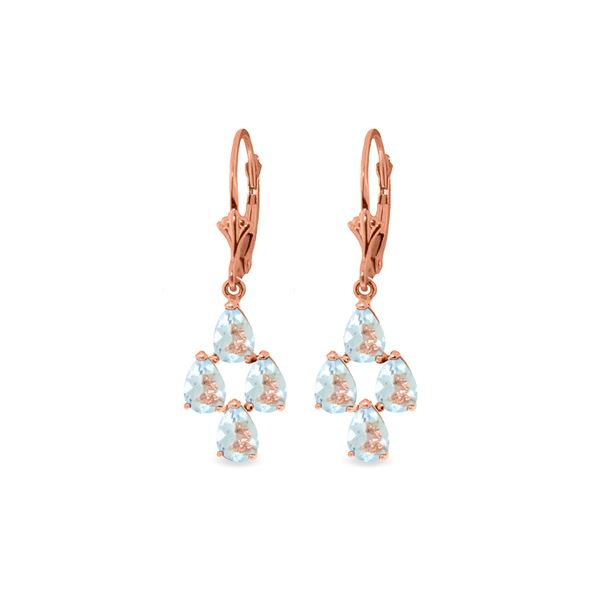 Genuine 3.9 ctw Aquamarine Earrings 14KT Rose Gold - REF-51H8X