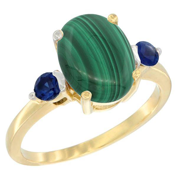 2.99 CTW Malachite & Blue Sapphire Ring 10K Yellow Gold - REF-22V4R