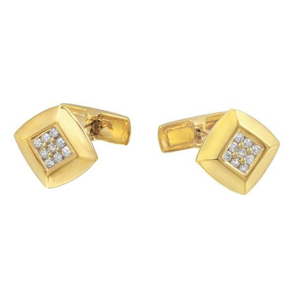 Natural 0.48 CTW Diamond Cuff Links 18K Yellow Gold - REF-157W5H