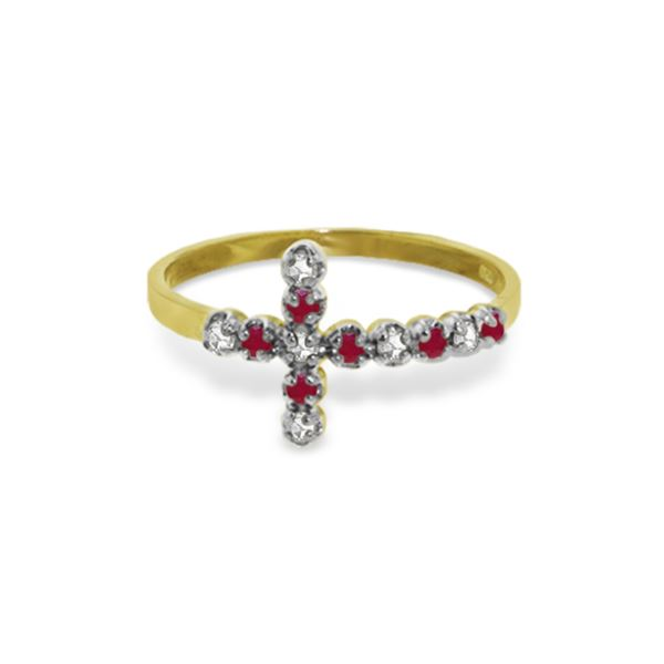 Genuine 0.24 ctw Ruby & Diamond Ring 14KT Yellow Gold - REF-35T2A