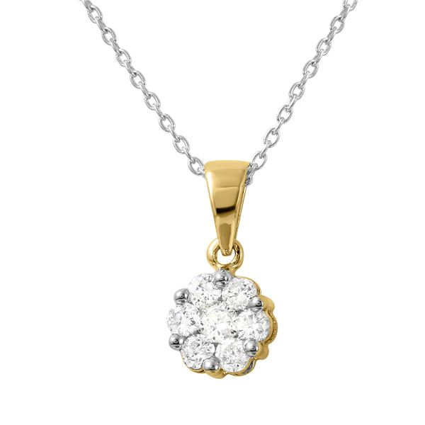 Natural 0.25 CTW Diamond Necklace 14K Yellow Gold - REF-36W2H