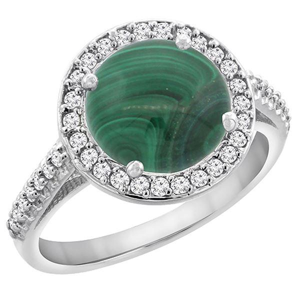 5.34 CTW Malachite & Diamond Ring 14K White Gold - REF-54M7A
