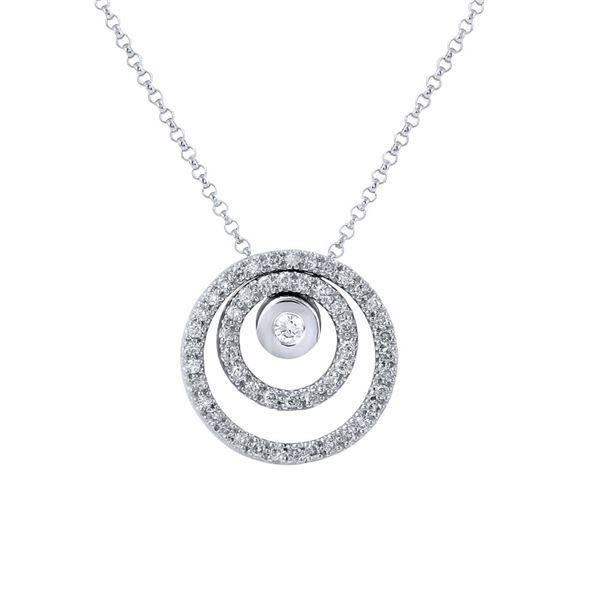 Natural 0.59 CTW Diamond Necklace 14K White Gold - REF-72W9H