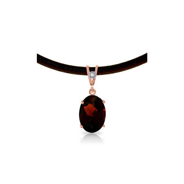 Genuine 7.56 ctw Garnet & Diamond Necklace 14KT Rose Gold - REF-53K8V