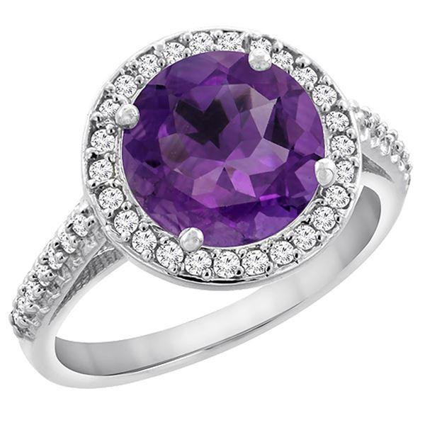 2.44 CTW Amethyst & Diamond Ring 14K White Gold - REF-56N2Y