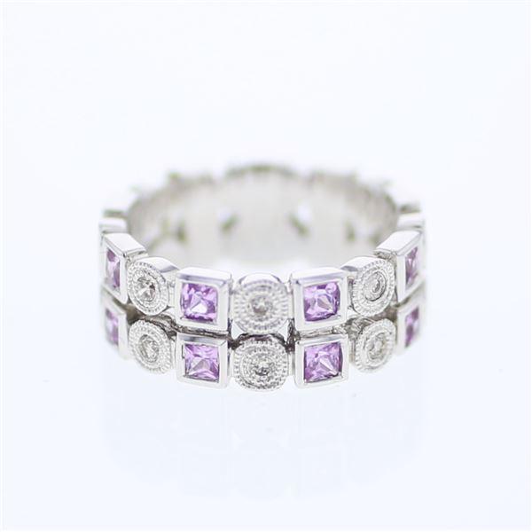 Natural 0.90 CTW Pink Sapphire & Diamond Ring 14K White Gold - REF-71F3M