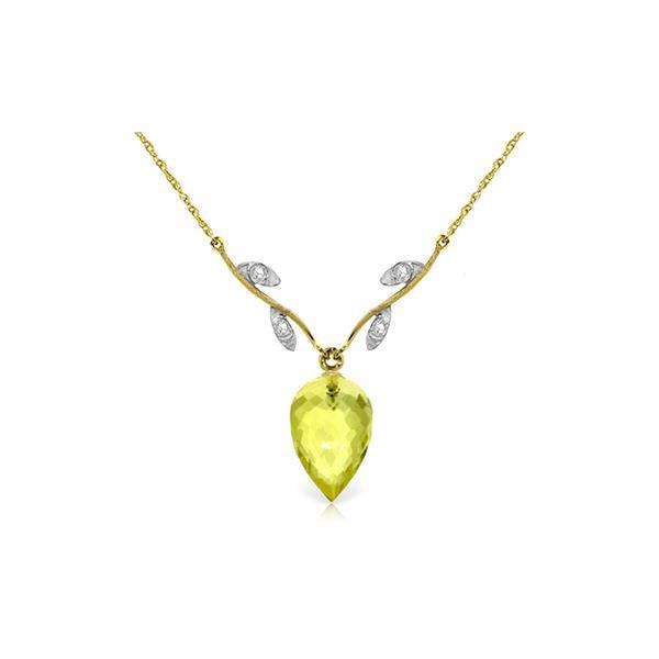 Genuine 9.02 ctw Lemon Quartz & Diamond Necklace 14KT Yellow Gold - REF-33K2V