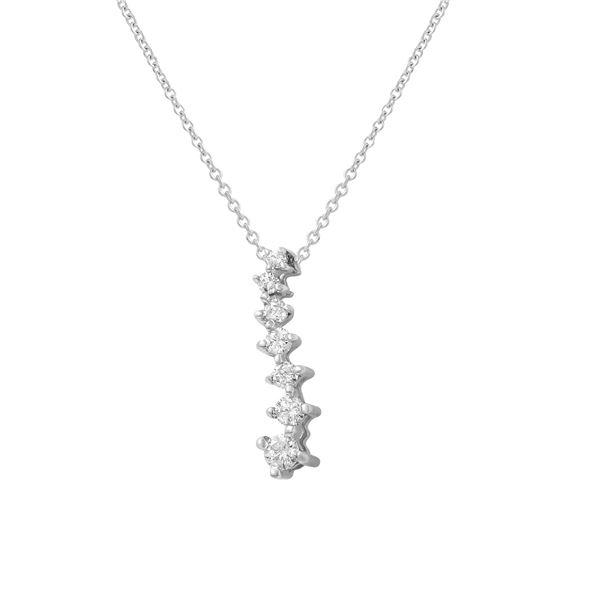 Natural 0.25 CTW Diamond Necklace 14K White Gold - REF-33F3M