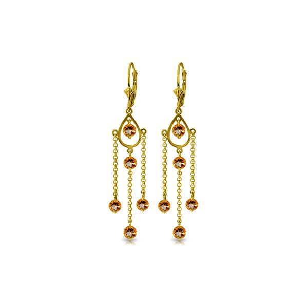 Genuine 3 ctw Citrine Earrings 14KT Yellow Gold - REF-48Z9N