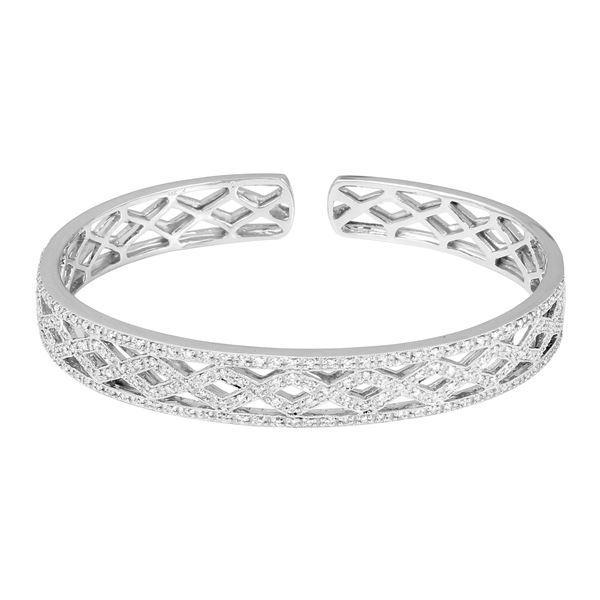 Natural 1.14 CTW Diamond Bangle 14K White Gold - REF-245W7H