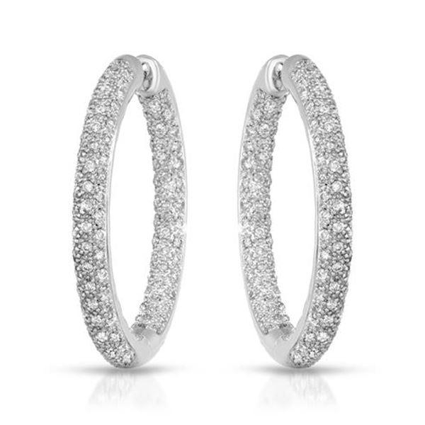 2.1 CTW White Round Diamond Hoop  Earring 14K White Gold - REF-263V6T