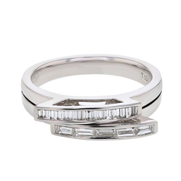Natural 0.39 CTW Baguette Ring W=5MM 14K Gold - REF-75K6R