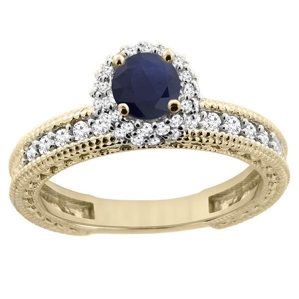0.95 CTW Blue Sapphire & Diamond Ring 14K Yellow Gold - REF-76H5M
