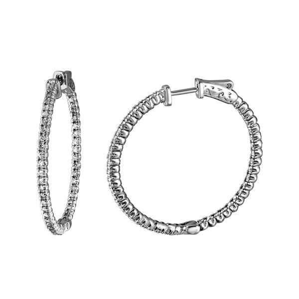 Natural 1.54 CTW Diamond Earrings 14K White Gold - REF-207N2Y