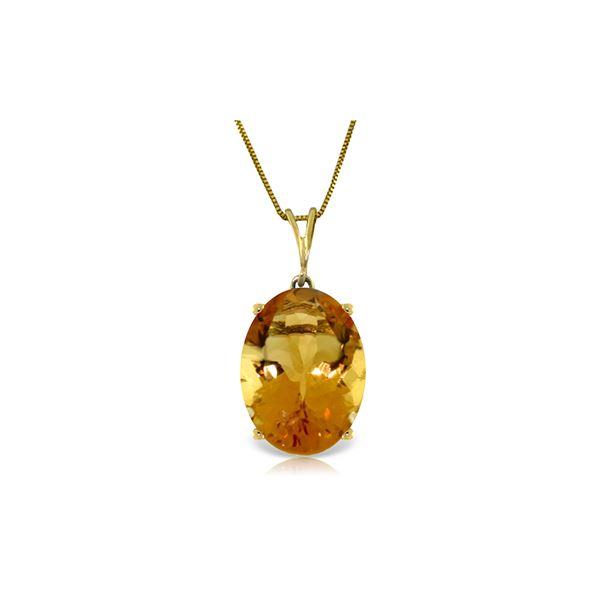Genuine 6 ctw Citrine Necklace 14KT Yellow Gold - REF-34P3H