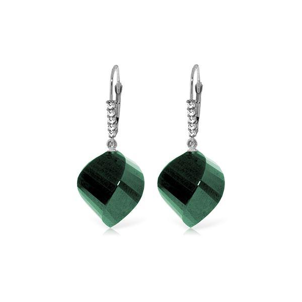 Genuine 30.65 ctw Green Sapphire Corundum & Diamond Earrings 14KT White Gold - REF-62F3Z