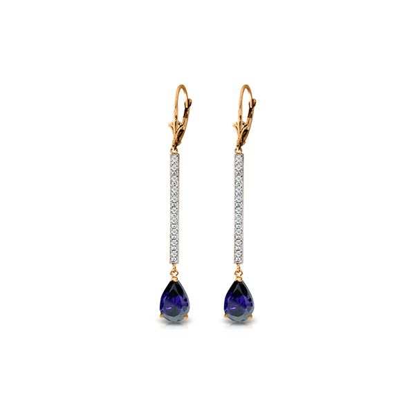 Genuine 3.6 ctw Sapphire & Diamond Earrings 14KT Rose Gold - REF-70M3T