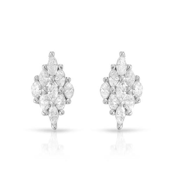 Natural 0.82 CTW Marquise Earring 18K White Gold - REF-101K7R