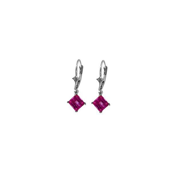 Genuine 3.2 ctw Pink Topaz Earrings 14KT White Gold - REF-31N2R