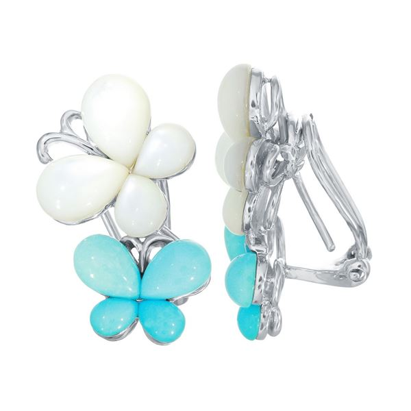 Natural 8.93 CTW Opal & Turquoise Earring 18K White Gold - REF-128N7Y
