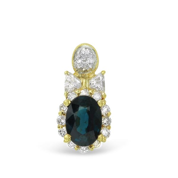 Natural 1.43 CTW Sapphire & Diamond Pendant 18K Yellow Gold - REF-66T6X