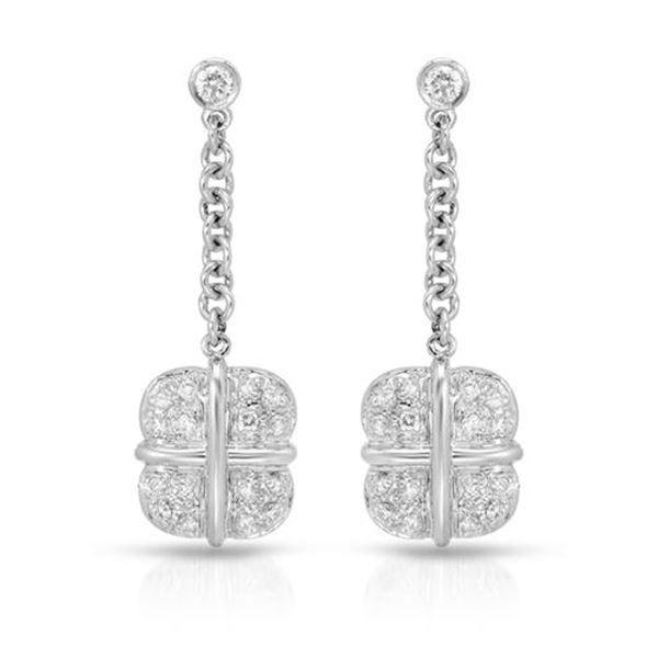 Natural 0.50 CTW Diamond Earrings 14K White Gold - REF-74N7Y