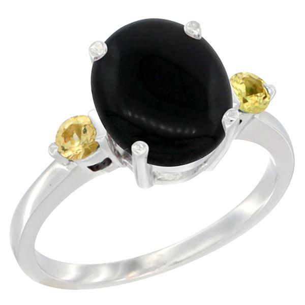 1.79 CTW Onyx & Yellow Sapphire Ring 14K White Gold - REF-30Y3V