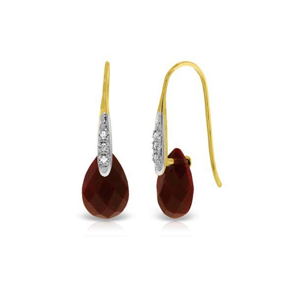 Genuine 8.06 ctw Ruby & Diamond Earrings 14KT Yellow Gold - REF-60Y3F
