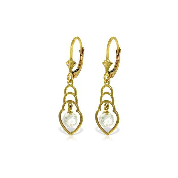 Genuine 1.25 ctw White Topaz Earrings 14KT Yellow Gold - REF-25H6X