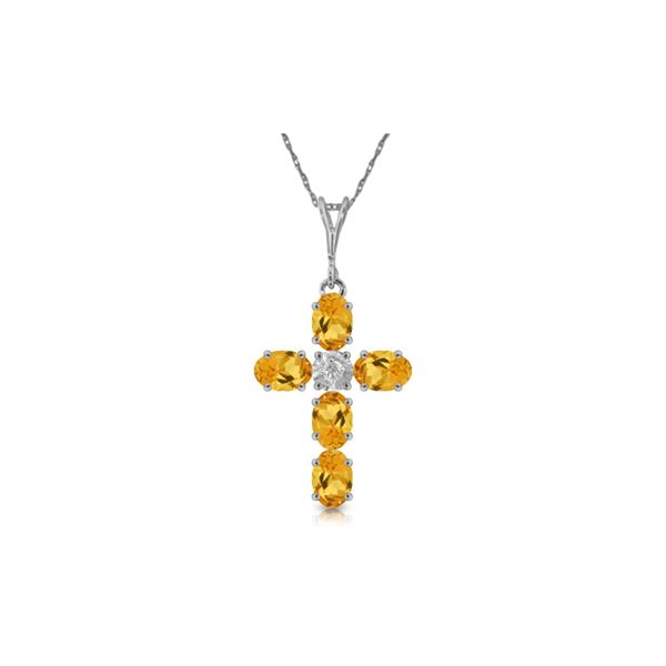 Genuine 1.88 ctw Citrine & Diamond Necklace 14KT White Gold - REF-39Z8N
