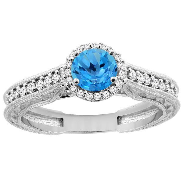 1.24 CTW Swiss Blue Topaz & Diamond Ring 14K White Gold - REF-57M4A