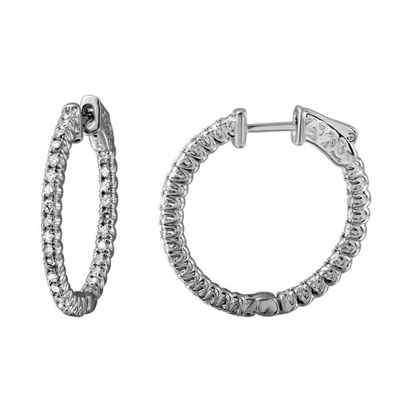 Natural 0.95 CTW Diamond Earrings 14K White Gold - REF-137N7Y