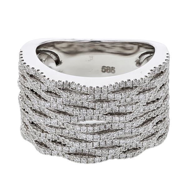 Natural 1.22 CTW Diamond Ring 14K White Gold - REF-252N9Y