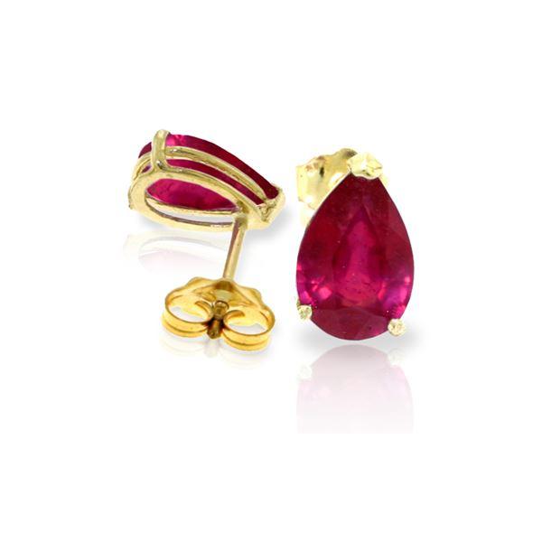 Genuine 3.5 ctw Ruby Earrings 14KT Yellow Gold - REF-31M2T