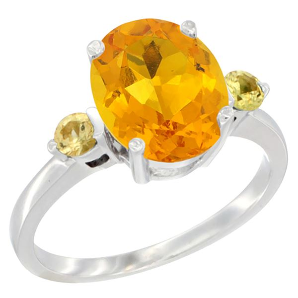 2.64 CTW Citrine & Yellow Sapphire Ring 10K White Gold - REF-24W5F
