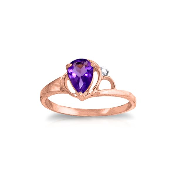 Genuine 0.66 ctw Amethyst & Diamond Ring 14KT Rose Gold - REF-31H4X