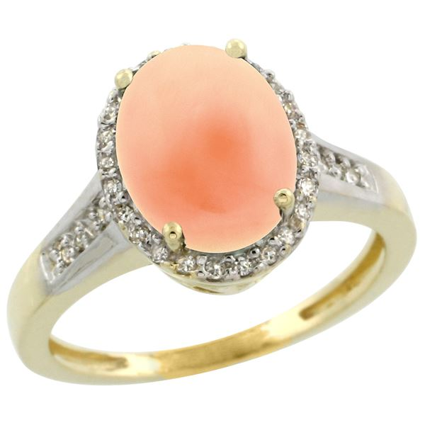 0.20 CTW Diamond & Natural Coral Ring 10K Yellow Gold - REF-46Y3V