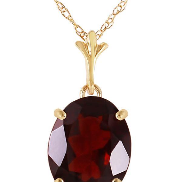 Genuine 3.12 ctw Garnet Necklace 14KT Yellow Gold - REF-25P3H