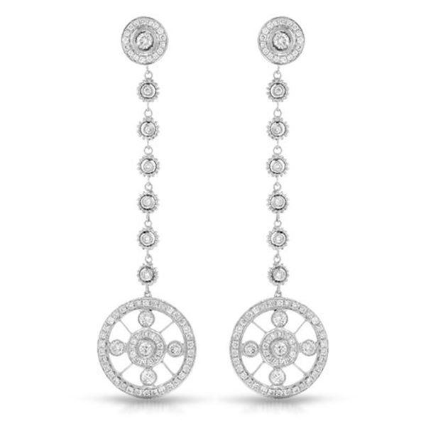 Natural 1.37 CTW Diamond Earrings 18K White Gold - REF-212K4R