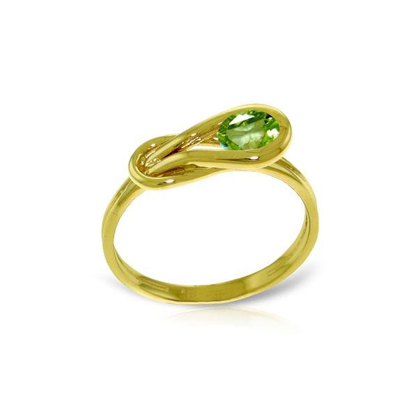 Genuine 0.65 ctw Peridot Ring 14KT Yellow Gold - REF-47Z2N