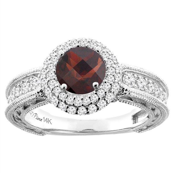 1.51 CTW Garnet & Diamond Ring 14K White Gold - REF-91X9M