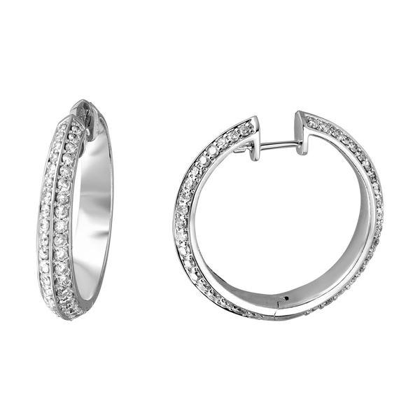 Natural 3.70 CTW Diamond Earrings 14K White Gold - REF-351T9X