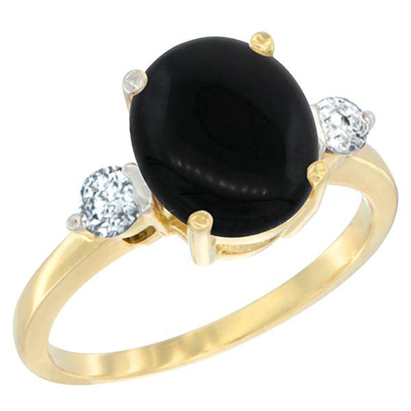 1.75 CTW Onyx & Diamond Ring 10K Yellow Gold - REF-60F2N