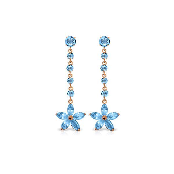 Genuine 4.8 ctw Blue Topaz Earrings 14KT Rose Gold - REF-56Z8N