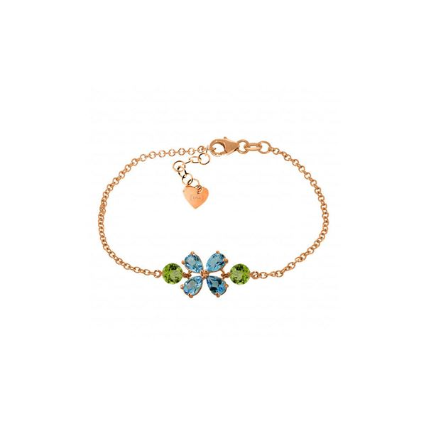 Genuine 3.15 ctw Blue Topaz & Peridot Bracelet 14KT Rose Gold - REF-56X4M