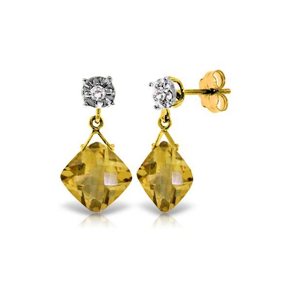 Genuine 17.56 ctw Citrine & Diamond Earrings 14KT Yellow Gold - REF-48P3H