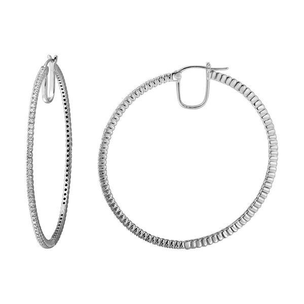 Natural 0.81 CTW Diamond Earrings 14K White Gold - REF-152F3M
